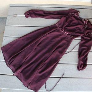 Asos Burgundy Studded Tie up long sleeve dress